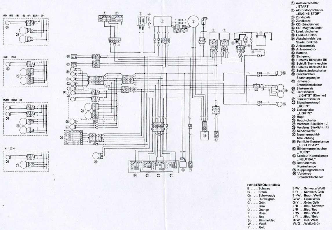 Schema Elettrico Xt 600 : Bedradingsschemas